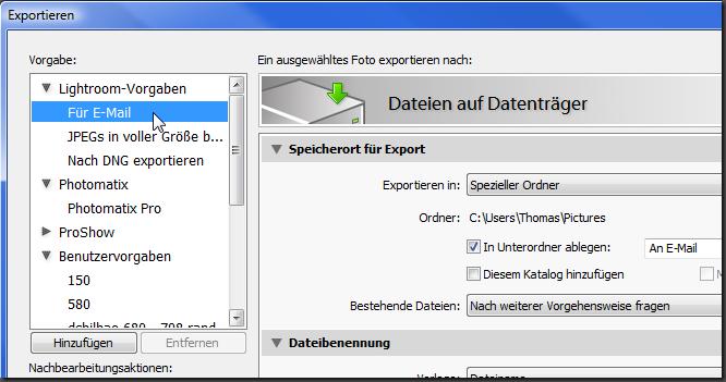 Export Vorlage fuer Email
